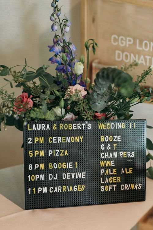 Peg Board Sign For Wedding // Dry Hire Wedding Venue Dilston Grove London With Bride In Sally Lacock And Groom In Mr Start With Images From Joasis Photography
