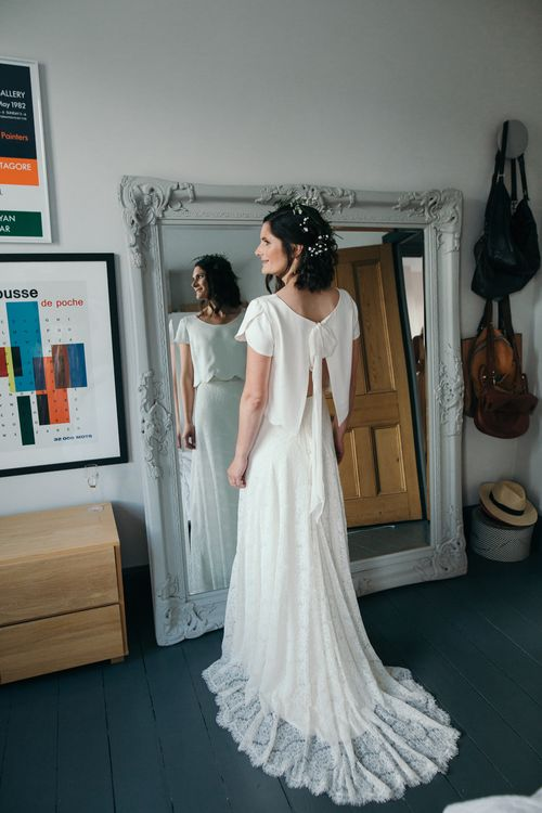 Bridal Separates // Dry Hire Wedding Venue Dilston Grove London With Bride In Sally Lacock And Groom In Mr Start With Images From Joasis Photography