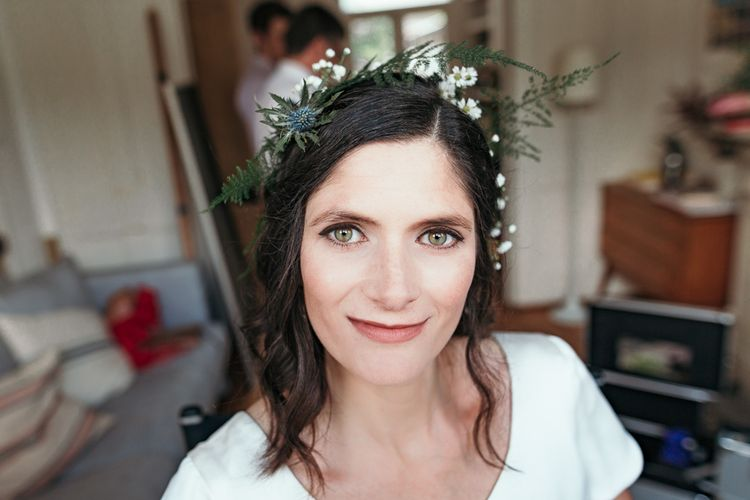 Foliage Crown For Bride // Dry Hire Wedding Venue Dilston Grove London With Bride In Sally Lacock And Groom In Mr Start With Images From Joasis Photography