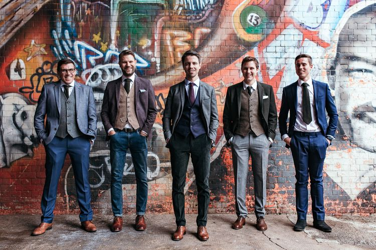 Groom & Groomsmen In Tweed And Wool Suits // Dry Hire Wedding Venue Dilston Grove London With Bride In Sally Lacock And Groom In Mr Start With Images From Joasis Photography