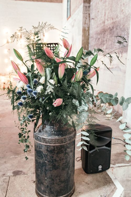 Milk Churn For Wedding Flowers // Dry Hire Wedding Venue Dilston Grove London With Bride In Sally Lacock And Groom In Mr Start With Images From Joasis Photography
