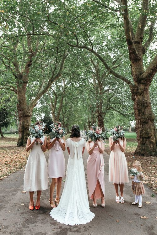 Bridesmaids In Pale Pink Dresses // Dry Hire Wedding Venue Dilston Grove London With Bride In Sally Lacock And Groom In Mr Start With Images From Joasis Photography