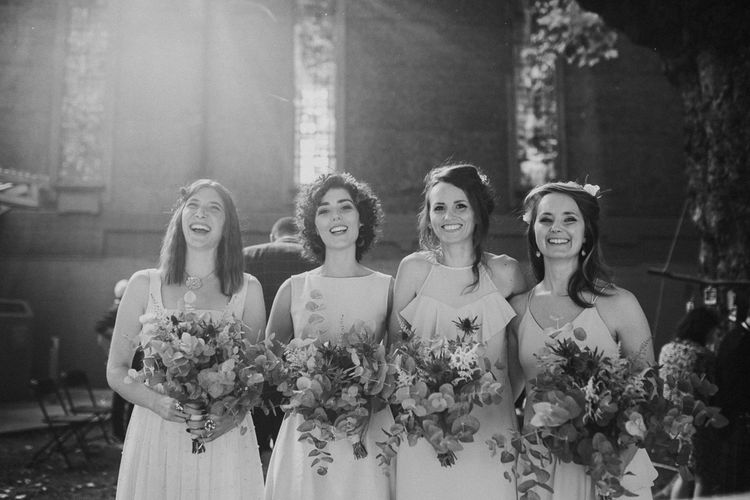 Bridesmaids Bouquets // Dry Hire Wedding Venue Dilston Grove London With Bride In Sally Lacock And Groom In Mr Start With Images From Joasis Photography