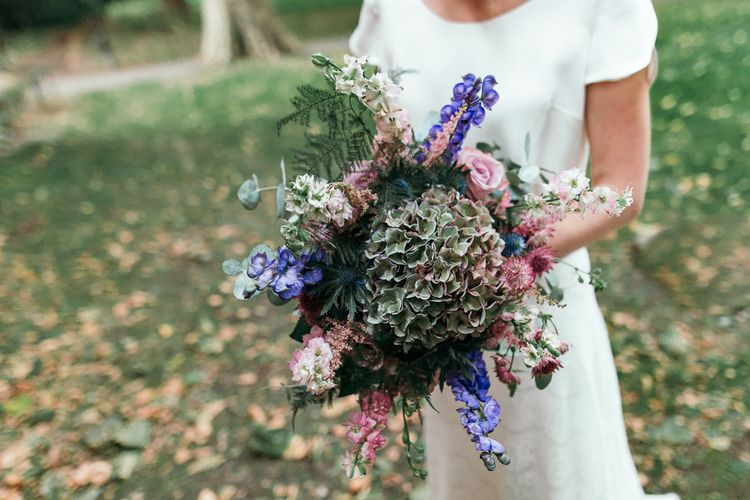 Hydrangea Wedding Bouquet // Dry Hire Wedding Venue Dilston Grove London With Bride In Sally Lacock And Groom In Mr Start With Images From Joasis Photography