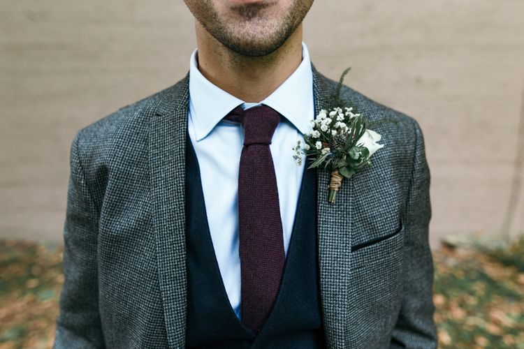 Rustic Buttonhole For Wedding // Dry Hire Wedding Venue Dilston Grove London With Bride In Sally Lacock And Groom In Mr Start With Images From Joasis Photography