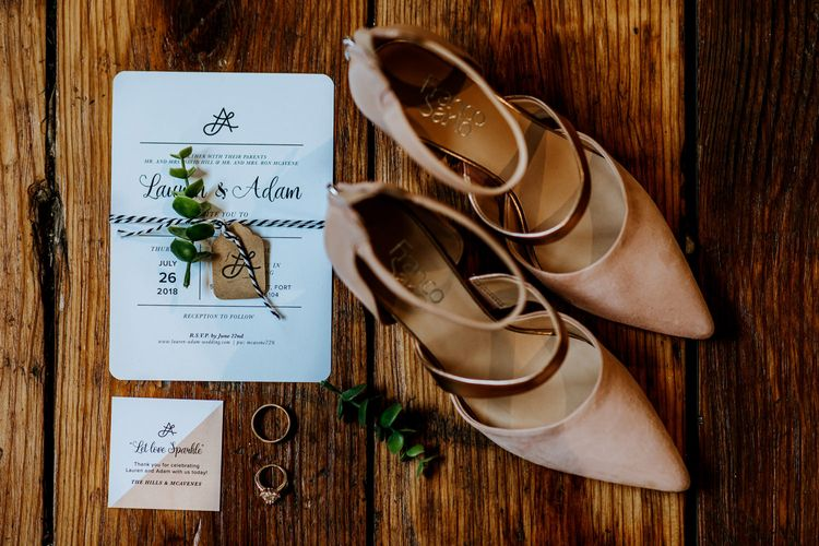 Nude Strappy Heels by Franco Sarto | Wedding Stationery Designed by Bride | Rifle Paper Co. Trainers for Informal Wedding in Fort Worth, Texas | Paul & Nanda Photography