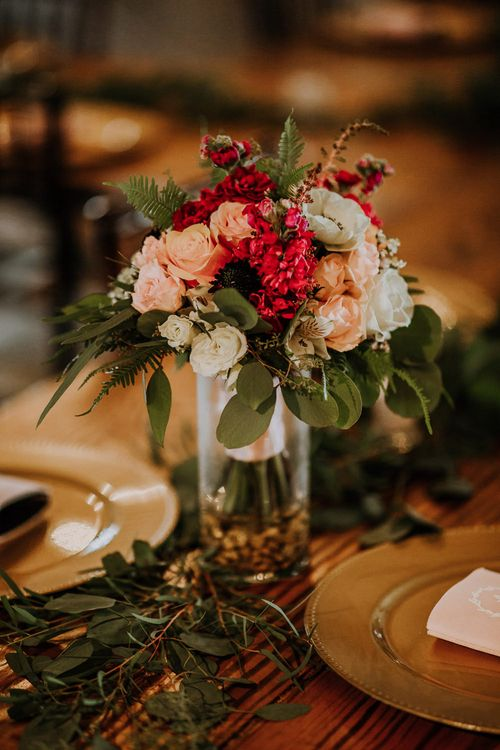 Colourful Bouquet of Pink, Orange and White Flowers with Ferns, Eucalyptus and Greenery | Gold Charger Plates | Rifle Paper Co. Trainers for Informal Wedding in Fort Worth, Texas | Paul & Nanda Photography