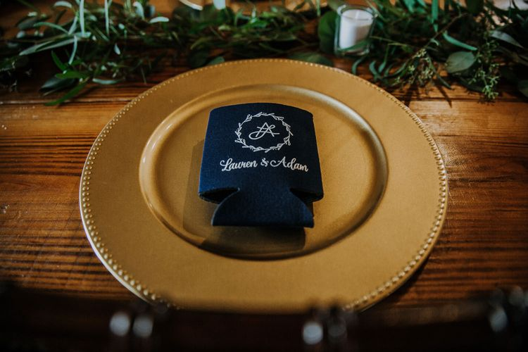 Gold Charger Plate | Koozie Wedding Favours | Eucalyptus Garland | Tea Lights | Rifle Paper Co. Trainers for Informal Wedding in Fort Worth, Texas | Paul & Nanda Photography