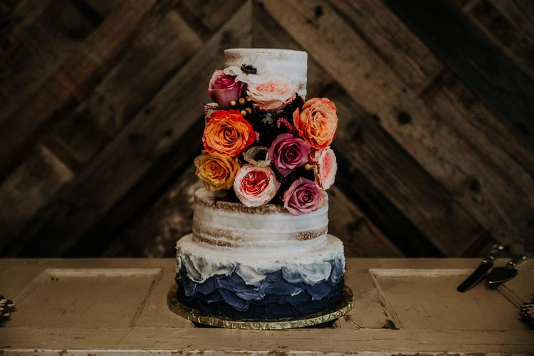 Four Tier Semi-Naked Wedding Cake with Blue Ombre Icing and Coral Flowers | Rifle Paper Co. Trainers for Informal Wedding in Fort Worth, Texas | Paul & Nanda Photography