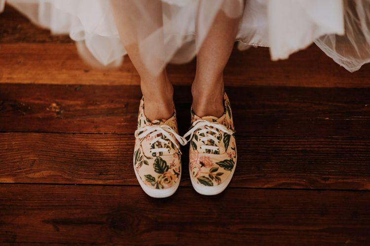 Blush Rifle Paper Co. Trainers with Pink Flowers and White Laces | Rifle Paper Co. Trainers for Informal Wedding in Fort Worth, Texas | Paul & Nanda PhotographyRifle Paper Co. Trainers for Informal Wedding in Fort Worth, Texas | Paul & Nanda Photography