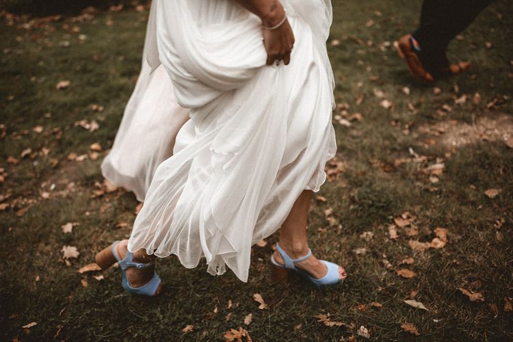 Something Blue Wedding Shoes // Rustic Wedding With Outdoor Ceremony At Captains Woods Barn With Bride In Coco And Kate Images From Benjamin Wheeler Jay Films