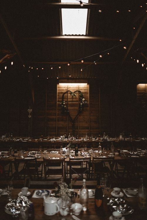 Festoon Lit Barn Wedding // Rustic Wedding With Outdoor Ceremony At Captains Woods Barn With Bride In Coco And Kate Images From Benjamin Wheeler Jay Films