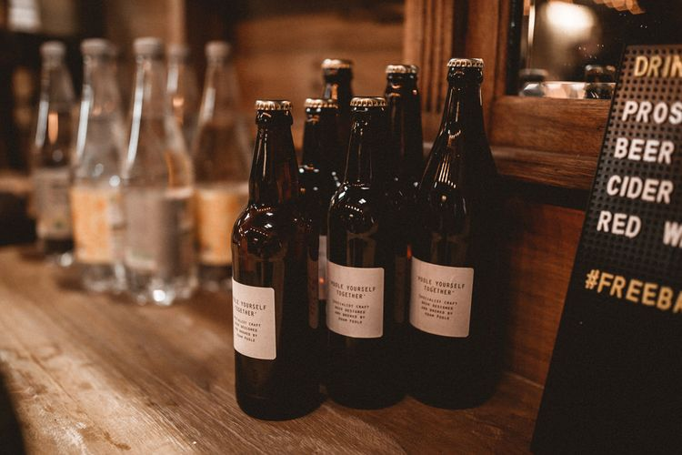 Home Brewed Beer For Wedding // Rustic Wedding With Outdoor Ceremony At Captains Woods Barn With Bride In Coco And Kate Images From Benjamin Wheeler Jay Films