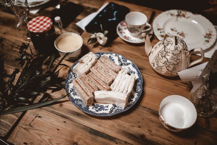 Afternoon Tea For Wedding // Rustic Wedding With Outdoor Ceremony At Captains Woods Barn With Bride In Coco And Kate Images From Benjamin Wheeler Jay Films