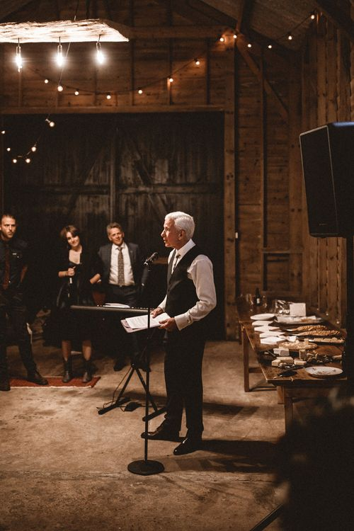 Wedding Speeches // Rustic Wedding With Outdoor Ceremony At Captains Woods Barn With Bride In Coco And Kate Images From Benjamin Wheeler Jay Films
