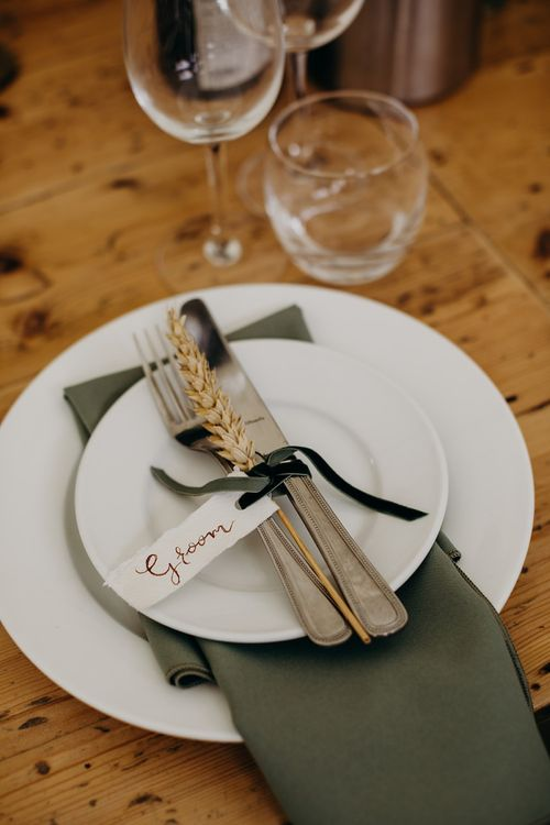 Wheat wedding place setting