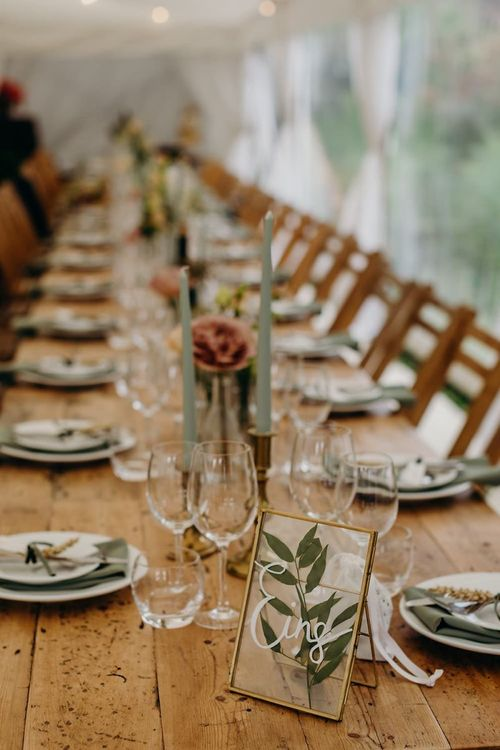 Wooden wedding table with flower decor