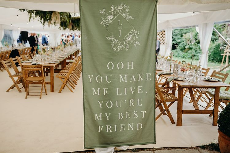 Sage green fabric wedding signs