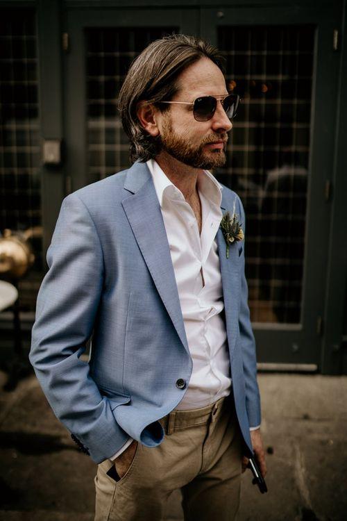 Groom in Light blue blazer