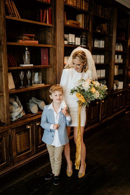 Bride ad son at city wedding