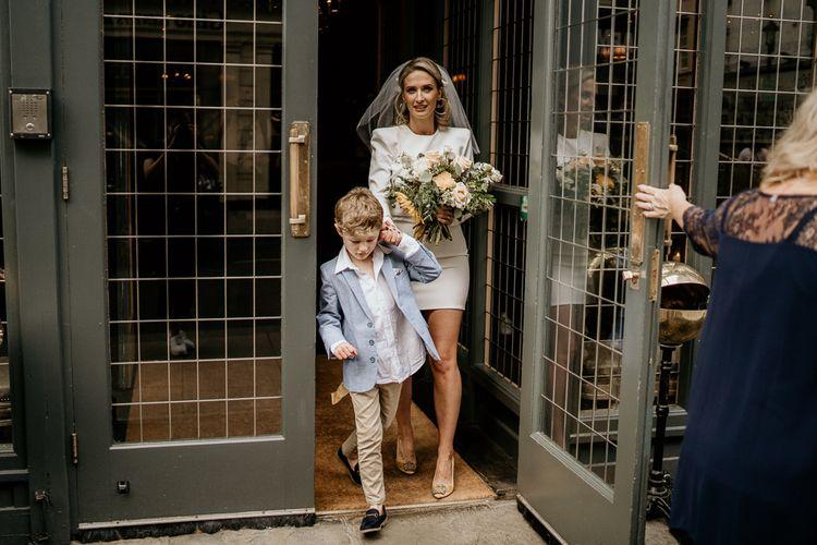 Bride and son at contemporary wedding