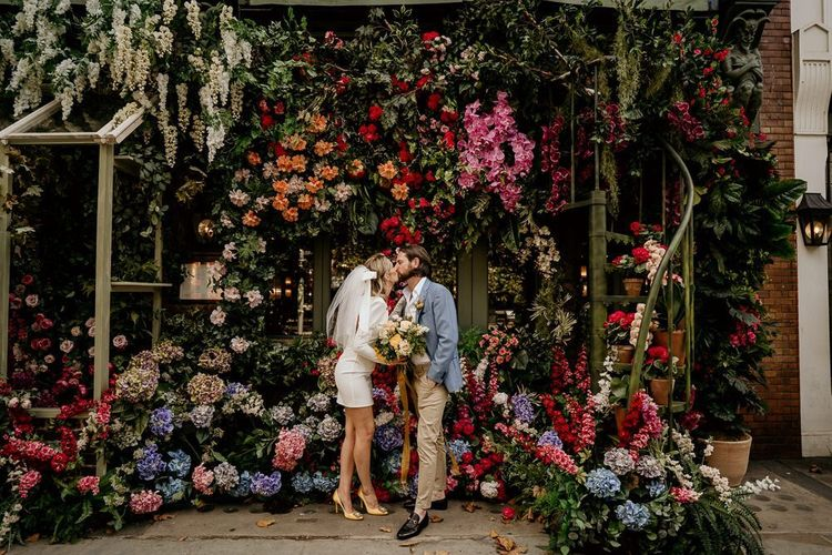 Bride and groom London portrait by Elena Popa Photography