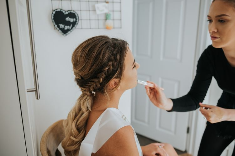 Bridal Braid | Wedding Morning | Pink Roll Top Booze Bath and Copper & Perspex Wedding Decor at Industrial Venue The West Mill | Rosie Kelly Photography