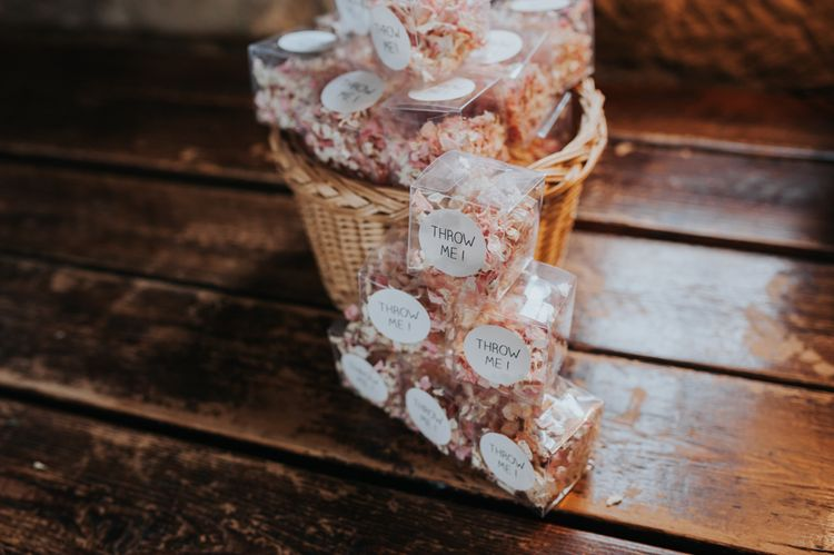 Confetti Boxes | Pink Roll Top Booze Bath and Copper & Perspex Wedding Decor at Industrial Venue The West Mill | Rosie Kelly Photography