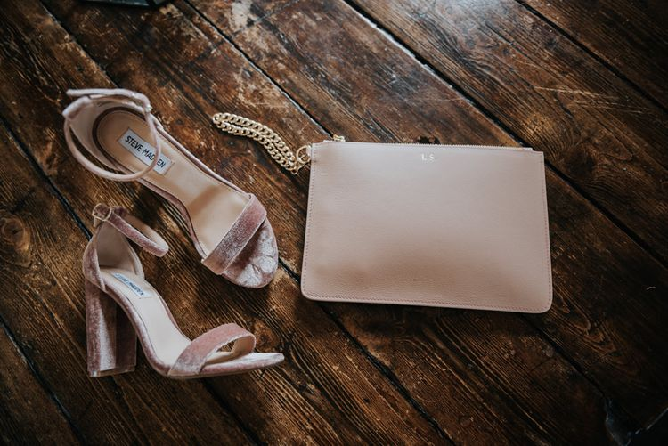 Pink Steve Madden Bridal Shoes & Pouch | Pink Roll Top Booze Bath and Copper & Perspex Wedding Decor at Industrial Venue The West Mill | Rosie Kelly Photography