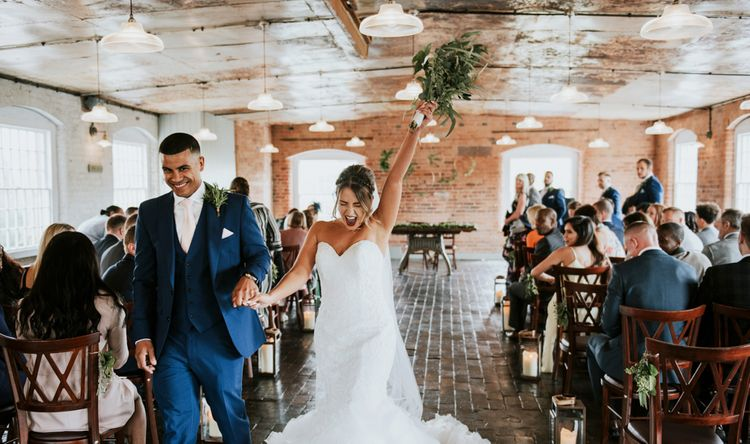 Wedding Ceremony | Bride in Fishtail Allure Bridal Gown | Groom in Navy Ted Baker Suit | Pink Roll Top Booze Bath and Copper & Perspex Wedding Decor at Industrial Venue The West Mill | Rosie Kelly Photography