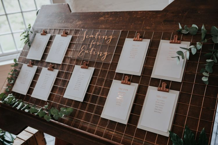 Copper Frame & Acrylic Sign Table Plan | Wedding Decor | Pink Roll Top Booze Bath and Copper & Perspex Wedding Decor at Industrial Venue The West Mill | Rosie Kelly Photography