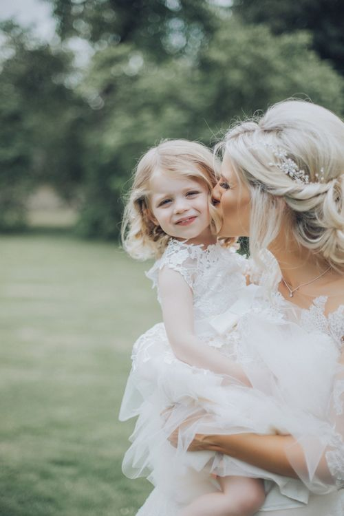 Bride With Flower Girl // Pink Ruffled Chair Covers For Romantic Pastel Pink Wedding At Dorton House With Bride In La Sposa And Images From Julia & You Photography