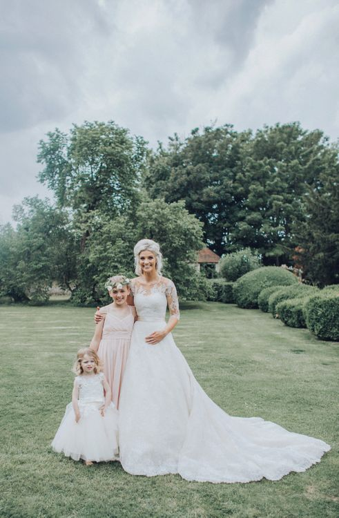 Bride With Bridesmaids // Pink Ruffled Chair Covers For Romantic Pastel Pink Wedding At Dorton House With Bride In La Sposa And Images From Julia & You Photography
