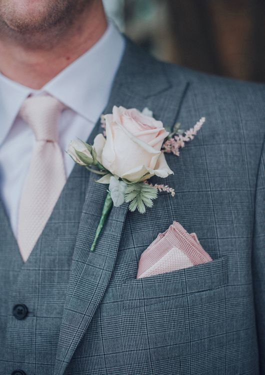 Pink Rose Buttonhole // Pink Ruffled Chair Covers For Romantic Pastel Pink Wedding At Dorton House With Bride In La Sposa And Images From Julia & You Photography