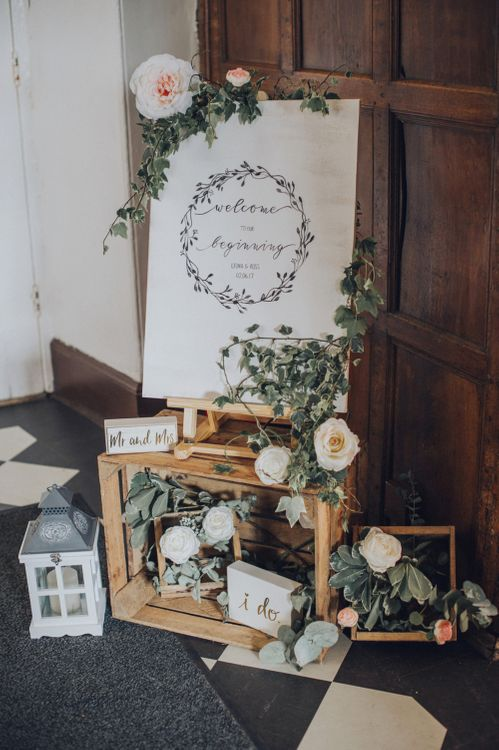 Rustic Welcome Sign For Wedding With Wooden Palettes & Lanterns // Pink Ruffled Chair Covers For Romantic Pastel Pink Wedding At Dorton House With Bride In La Sposa And Images From Julia & You Photography