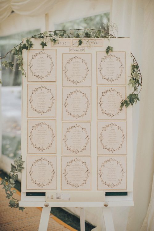 Elegant Table Plan For Wedding // Pink Ruffled Chair Covers For Romantic Pastel Pink Wedding At Dorton House With Bride In La Sposa And Images From Julia & You Photography