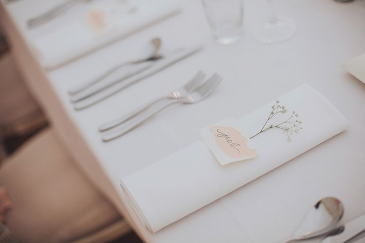 Romantic Place Setting For Wedding // Pink Ruffled Chair Covers For Romantic Pastel Pink Wedding At Dorton House With Bride In La Sposa And Images From Julia & You Photography