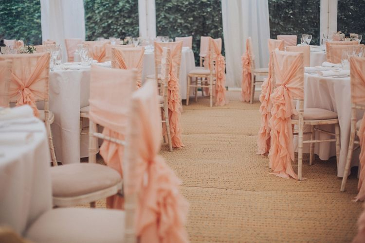 Pink Ruffled Chair Covers For Romantic Pastel Pink Wedding At Dorton House With Bride In La Sposa And Images From Julia & You Photography