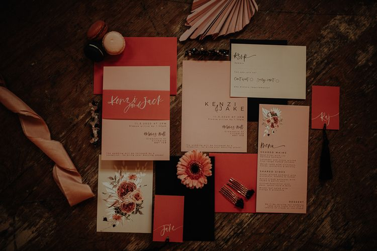 Blush pink wedding stationery designs by Wonderland Invites
