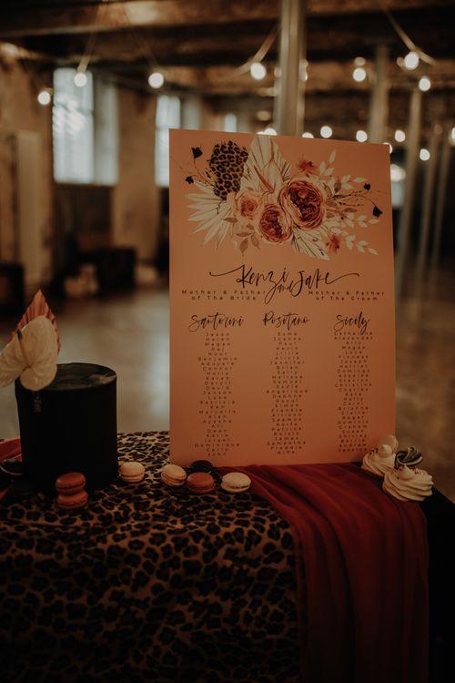 Blush pink seating chart by Wonderland Invites