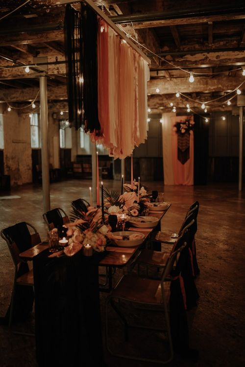 Table scape at Holmes Mill with ribbon installation