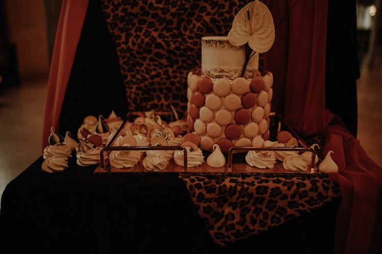 Dessert table with macaroon decor