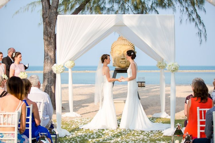 Lesbian wedding on the beach in Thailand