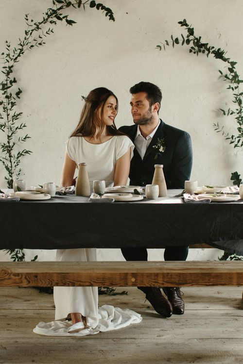 Less is More Simplistic & Minimal Launcells Barton Wedding | Styling & Design by On Serpentine Shores | Cherry Williams London Bridal Gown | Loulabel Floristry | Ceramic Tableware | Peach & Jo Photography