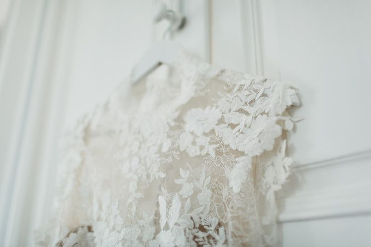 Vintage Lace Bridal Gown | L'heure Opulente - Laid Back French Chic, Paired with Elegant British Twists by Simply Pergord Weddings at Le Jardin à La Française Chateau | Mathilde Dufraisse Photography