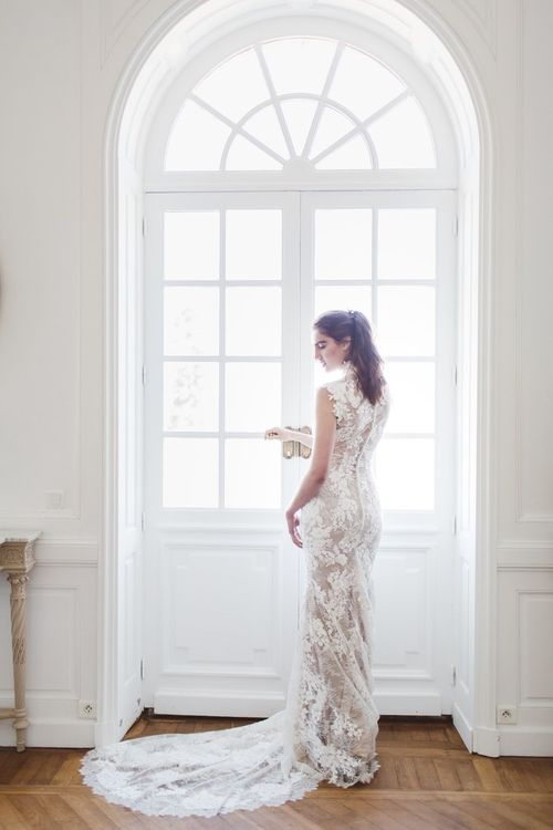 Pronovias Fitted Lace Wedding Dress | L'heure Opulente - Laid Back French Chic, Paired with Elegant British Twists by Simply Pergord Weddings at Le Jardin à La Française Chateau | Mathilde Dufraisse Photography