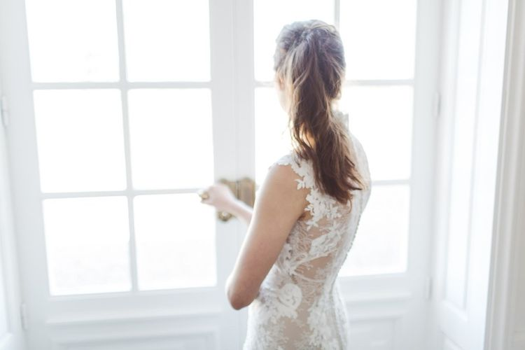 Sleeveless Pronovias Lace Wedding Dress | L'heure Opulente - Laid Back French Chic, Paired with Elegant British Twists by Simply Pergord Weddings at Le Jardin à La Française Chateau | Mathilde Dufraisse Photography