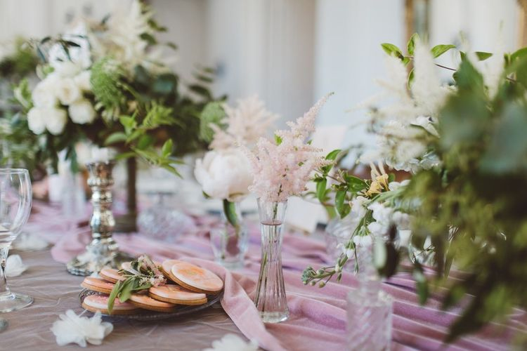 Pink Flower Stems in Vases & Biscuits | L'heure Opulente - Laid Back French Chic, Paired with Elegant British Twists by Simply Pergord Weddings at Le Jardin à La Française Chateau | Mathilde Dufraisse Photography