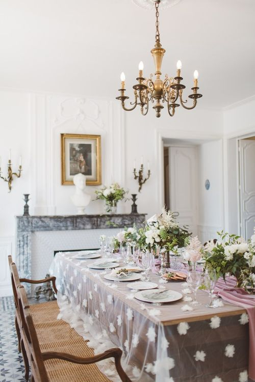 Beautiful Blush Pink Tablescape | L'heure Opulente - Laid Back French Chic, Paired with Elegant British Twists by Simply Pergord Weddings at Le Jardin à La Française Chateau | Mathilde Dufraisse Photography