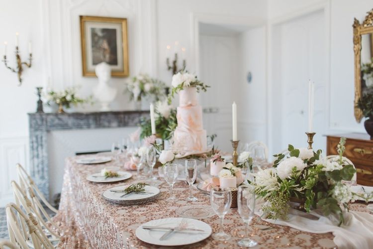 Blush Pink Dessert Table with Cakes by The Little Button Bakery | L'heure Opulente - Laid Back French Chic, Paired with Elegant British Twists by Simply Pergord Weddings at Le Jardin à La Française Chateau | Mathilde Dufraisse Photography